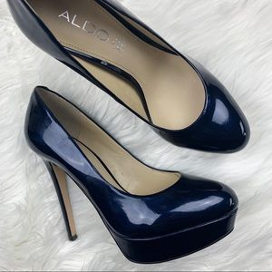 ALDO | Leather Metallic Navy Heels